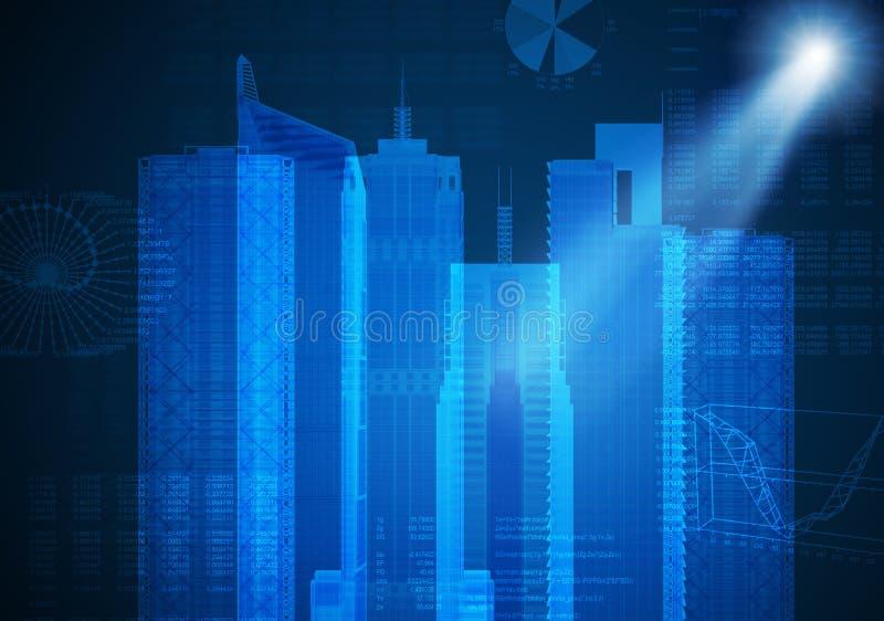 Abstrakter blauer Hintergrund mit Stadtbildskizze stockfotografie