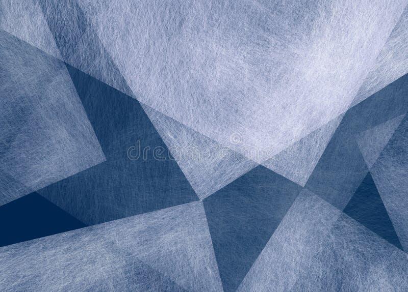 Abstrakter blauer Hintergrund mit weißem Dreieck formt mit Beschaffenheit im gelegentlichen Muster vektor abbildung
