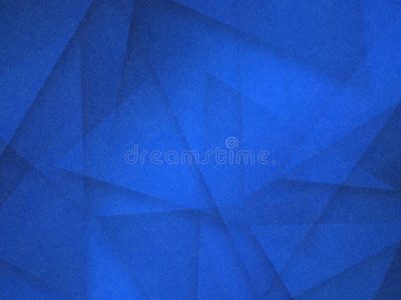 Abstrakter blauer Hintergrund mit weißen transparenten Dreieckschichten im gelegentlichen Muster, mit körniger Kratzerschmutzbesc lizenzfreies stockbild