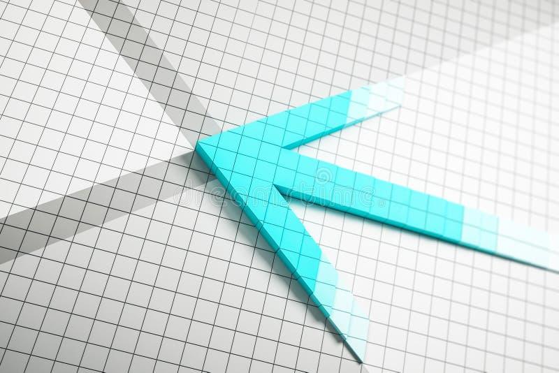 Abstrakter blauer Pfeil auf weißem Gitter vektor abbildung