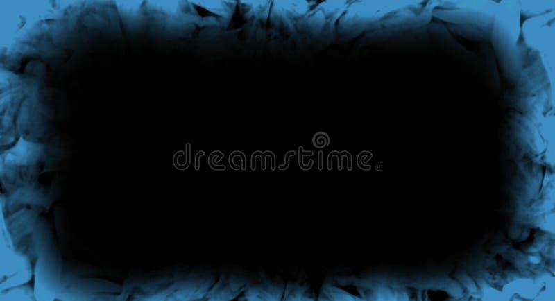 Abstrakter blauer Rauchflammenrahmen auf lokalisiert einem schwarzen Hintergrund stockfoto