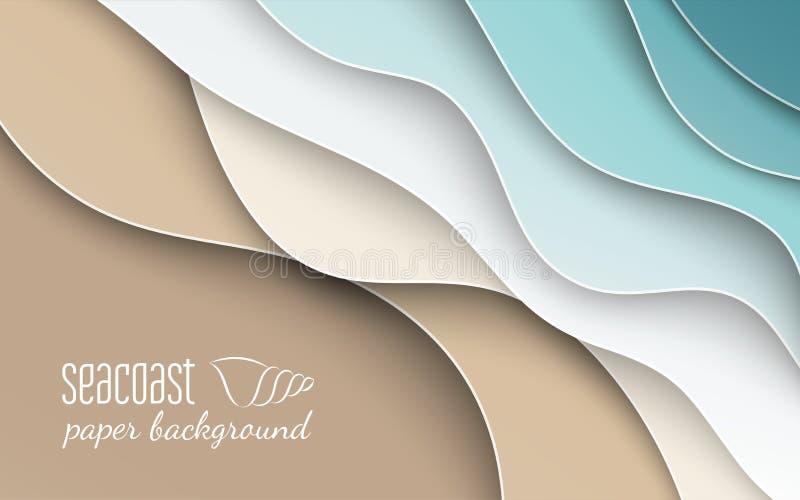 Abstrakter blauer See- und Strandsommerhintergrund mit Kurvenpapierwelle und Seeküste für Fahnen-, Plakat- oder Websitedesign stock abbildung