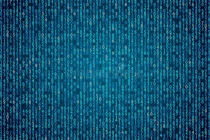 Abstrakter blauer Technologiehintergrund Binärer Computercode des Elements stock abbildung