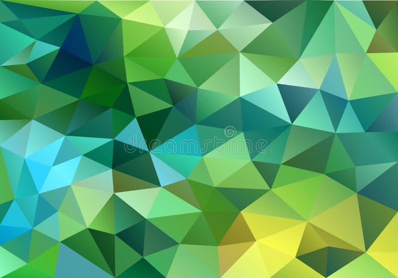 Abstrakter blauer und grüner niedriger Polyhintergrund, Vektor lizenzfreie abbildung