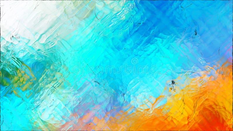 Abstrakter blauer und orange Glaseffekt-malender Hintergrund lizenzfreie abbildung