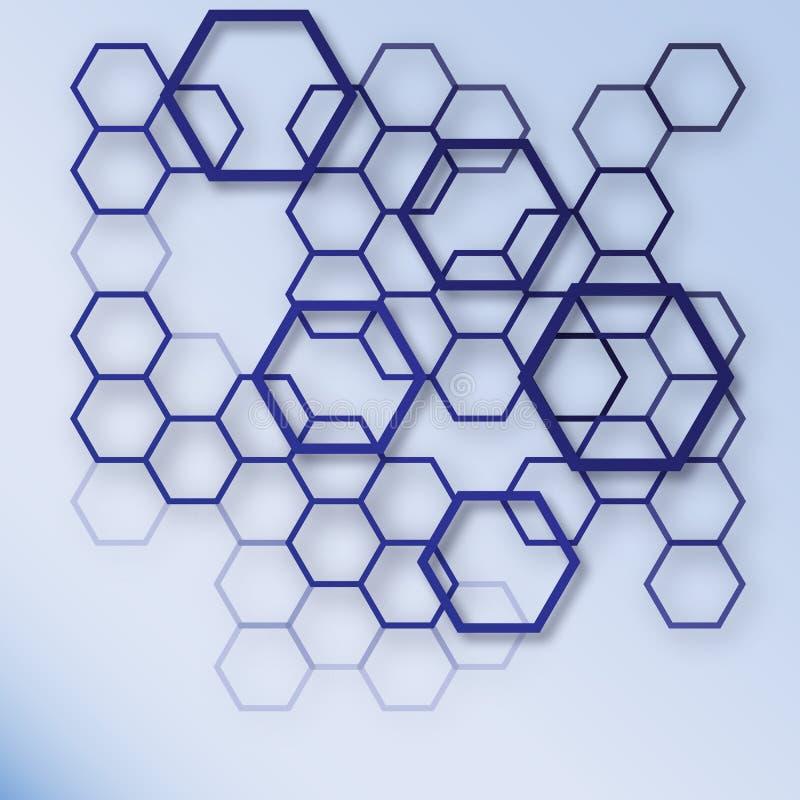 Abstrakter blauer und weißer Hexagonmusterhintergrund Geometrisches Konzeptdesign EPS10 lizenzfreie abbildung