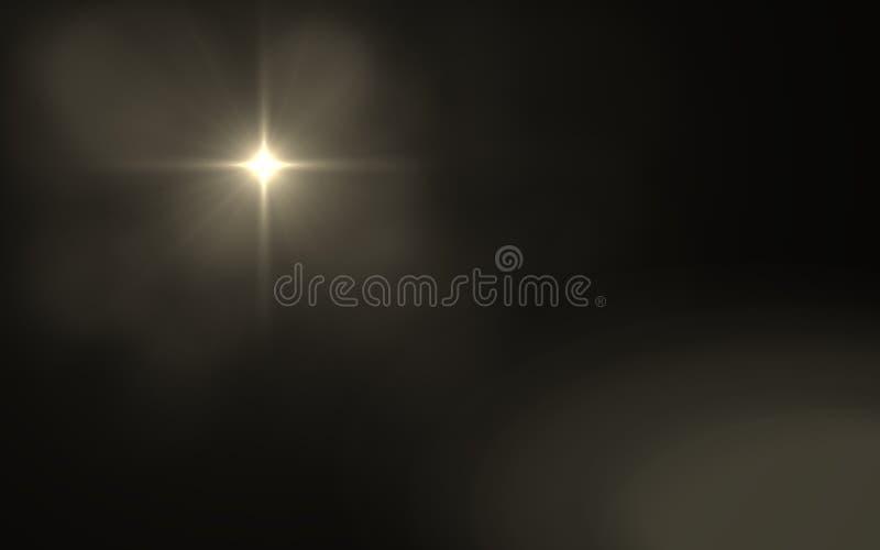 Abstrakter Blendenfleck staubig mit schwarzem Hintergrund Modernes abstraktes schönes backgroun heller Streifen der Strahlen lizenzfreie abbildung