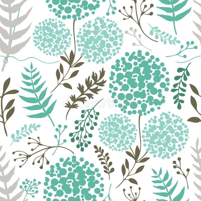 Abstrakter Blumenhintergrund blaue grüne Farbe stock abbildung