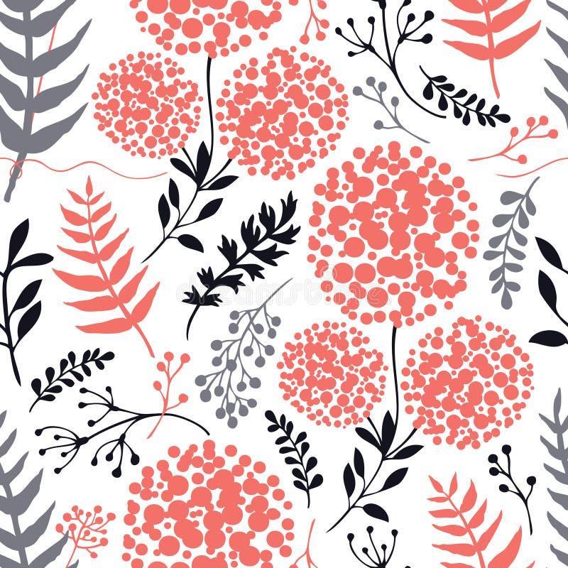 Abstrakter Blumenhintergrund Lebenkoralle, Grau und schwarze Farbnahtloses Muster stock abbildung