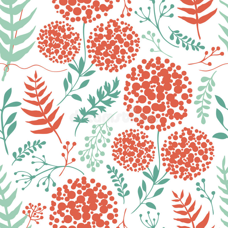 Abstrakter Blumenhintergrund mit den grünen und roten Farnblättern lizenzfreie abbildung