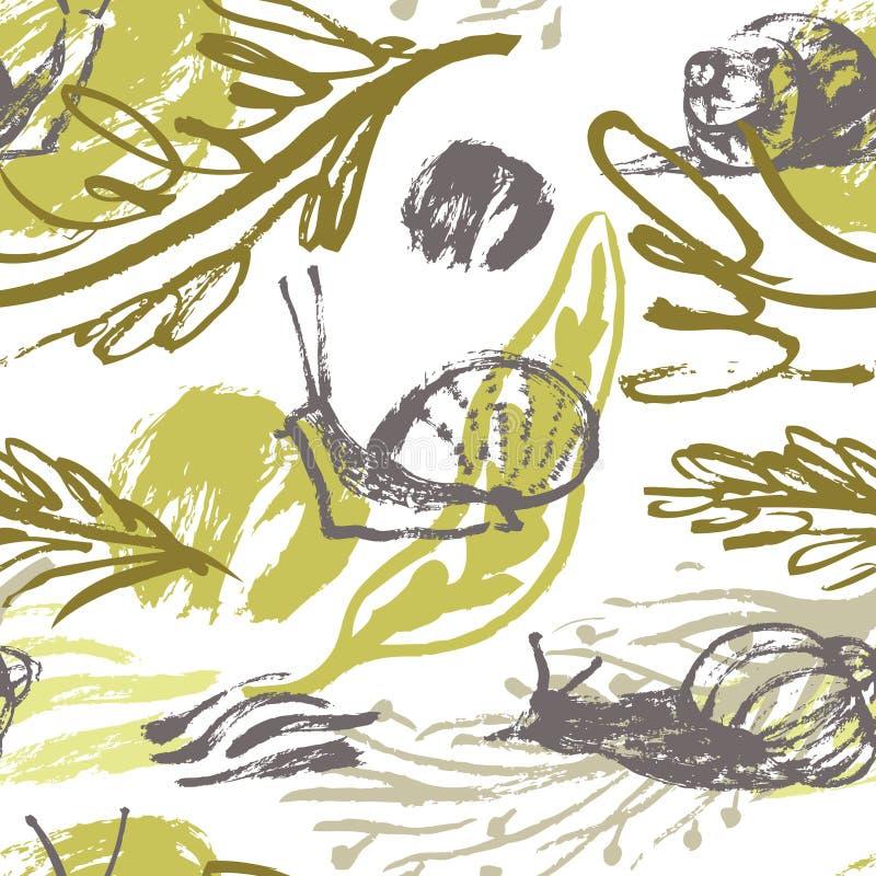 Abstrakter Blumenhintergrund mit Schnecken stock abbildung