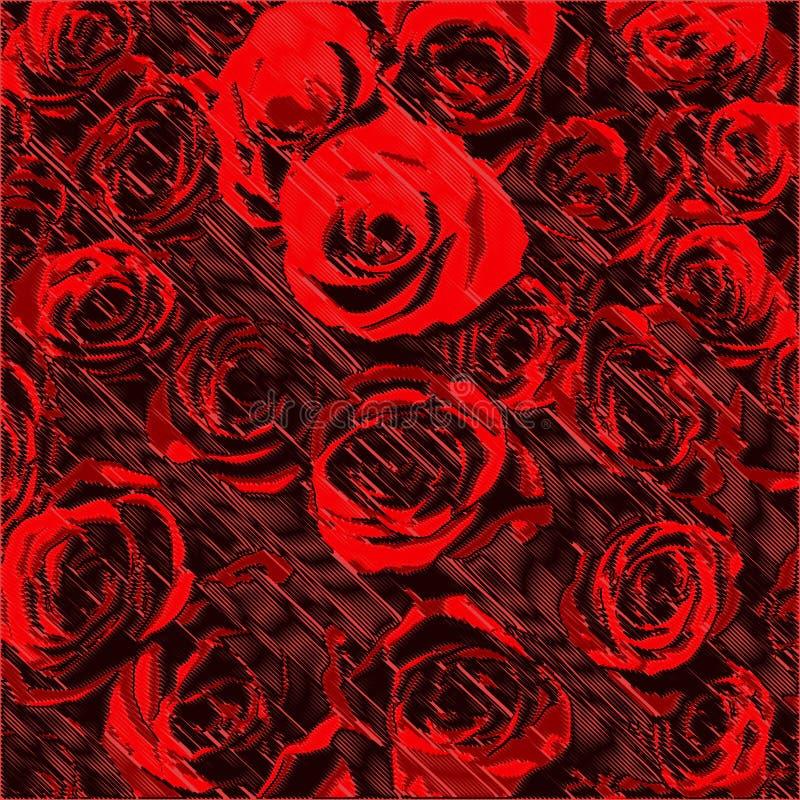 Abstrakter Blumenhintergrund mit stilisierten roten Rosen auf gestreiftem diagonalem purpurrotem Hintergrund des Schmutzes vektor abbildung