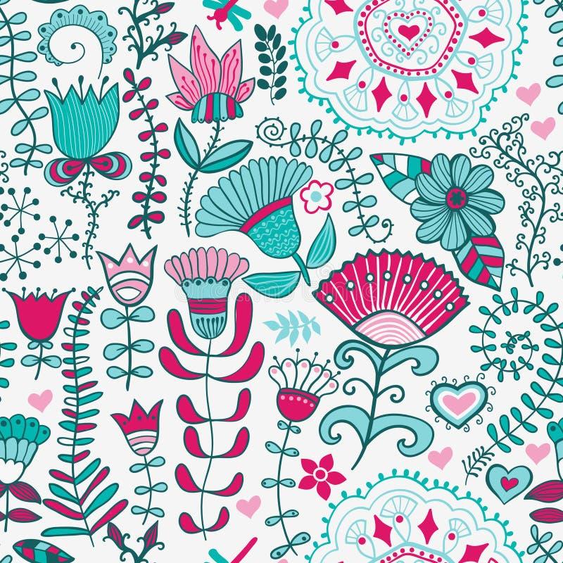 Abstrakter Blumenhintergrund, nahtloses Muster des Sommerthemas, wallp vektor abbildung