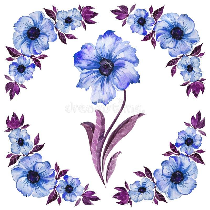 Abstrakter Blumenhintergrund Schöne blaue Blumen mit purpurroten Blättern Rundes Muster auf weißem Hintergrund Adobe Photoshop fü stock abbildung