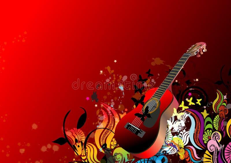 Abstrakter Blumenhintergrund und Gitarre vektor abbildung