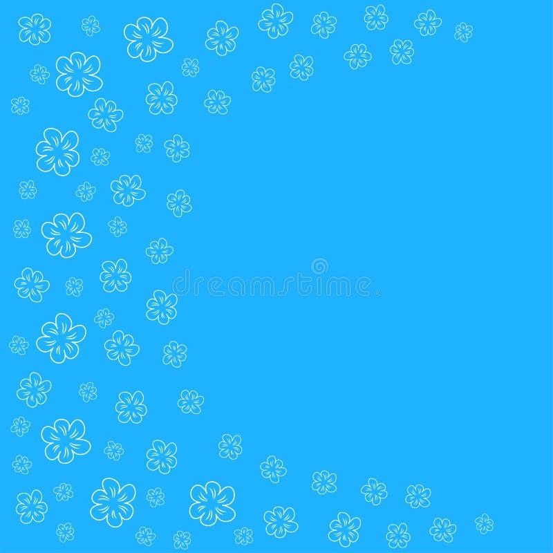 abstrakter Blumenrahmen auf einem blauen Hintergrund Für Drucke Grußkarten, Einladungen, Hochzeit, Geburtstag, Partei, Valentinst lizenzfreie abbildung