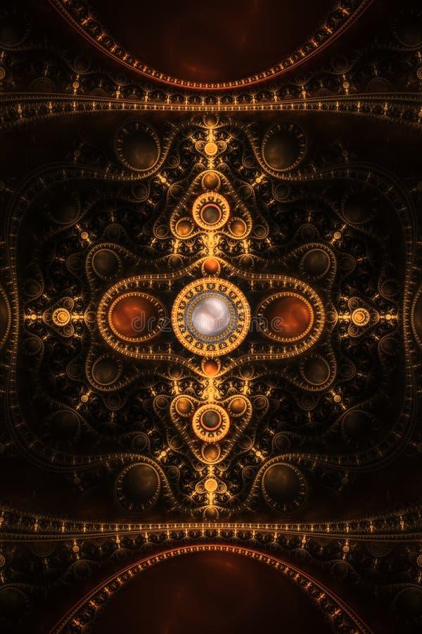 Abstrakter Borduhr-Juwelfractal-Flamme-Hintergrund lizenzfreie abbildung