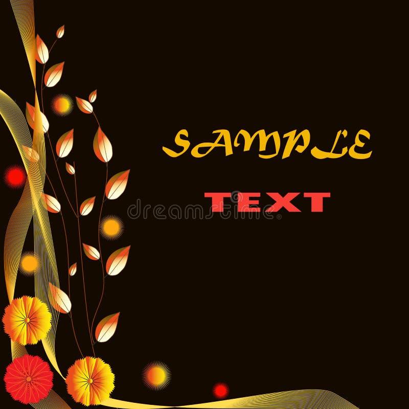 Abstrakter brauner Hintergrund mit goldenen Blättern lizenzfreie abbildung