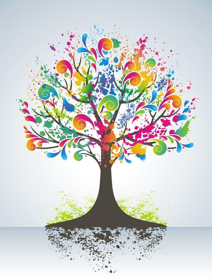 Abstrakter bunter Baum. stock abbildung
