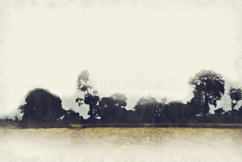 Abstrakter bunter Berg und Weidelandschaft auf Aquarellmalereihintergrund stock abbildung