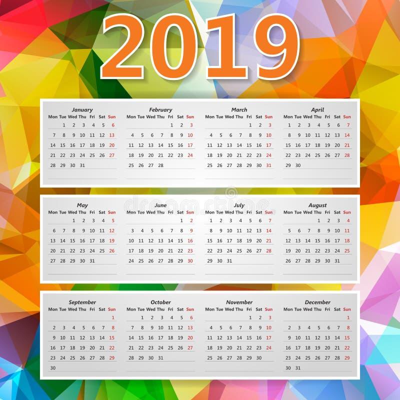 Abstrakter bunter dreieckiger polygonaler 2019-j?hriger Kalender lizenzfreie abbildung