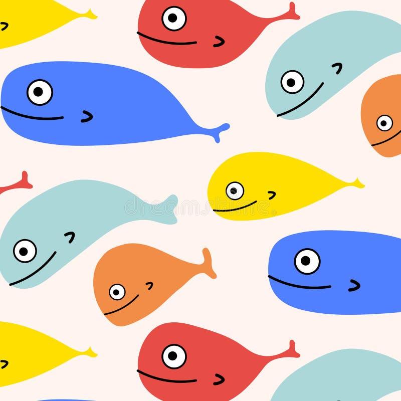 Abstrakter bunter Fisch-Muster-Hintergrund stock abbildung
