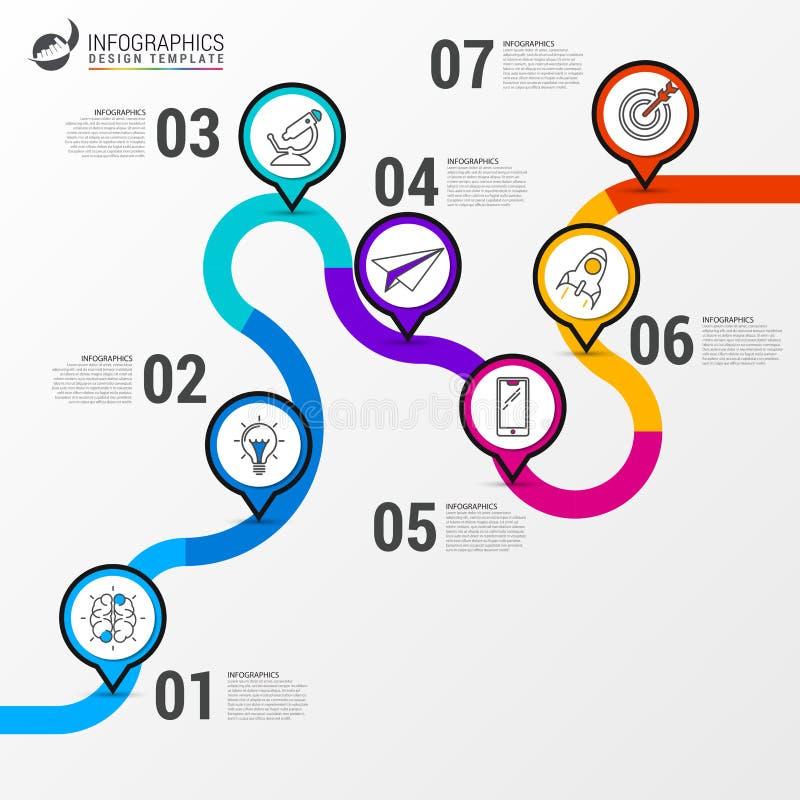 Abstrakter bunter Geschäftsweg Infographic Schablone der Zeitachse lizenzfreie abbildung