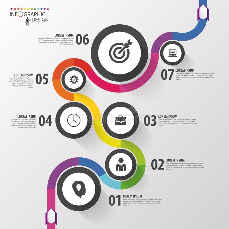 Abstrakter bunter Geschäftsweg Infographic Schablone der Zeitachse Vektor lizenzfreie abbildung