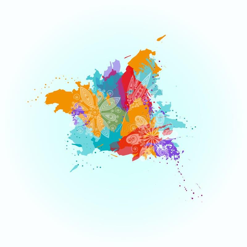 Abstrakter bunter glücklicher Holi-Hintergrund Design für indisches Festival von Farben stock abbildung