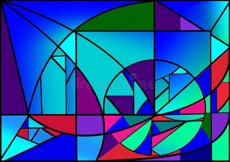 Abstrakter bunter Hintergrund, Blaulicht, fantastisches geometrics formt, Buntglasfenster stock abbildung