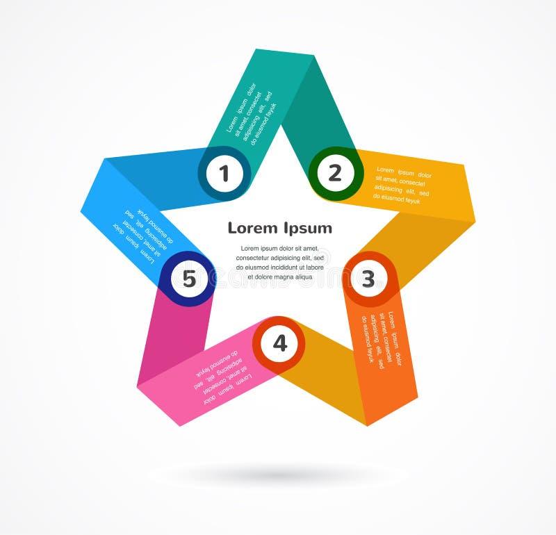 Abstrakter bunter Hintergrund infographic mit Stern lizenzfreie abbildung