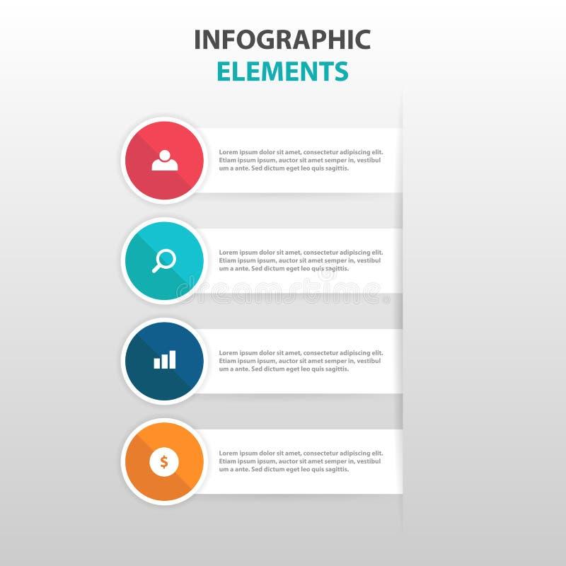 Abstrakter bunter Kreisaufkleber mit Lupengeschäft Infographics-Elementen, flacher Designvektor der Darstellungsschablone vektor abbildung