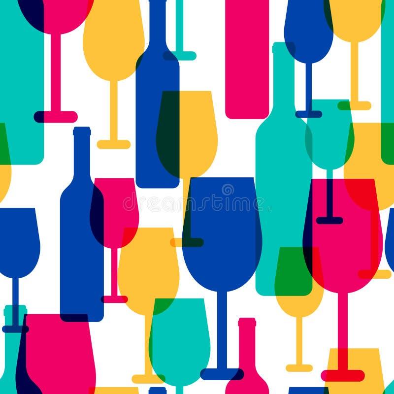 Abstrakter bunter nahtloser Rüttler des Cocktailglases und der Weinflasche lizenzfreie abbildung
