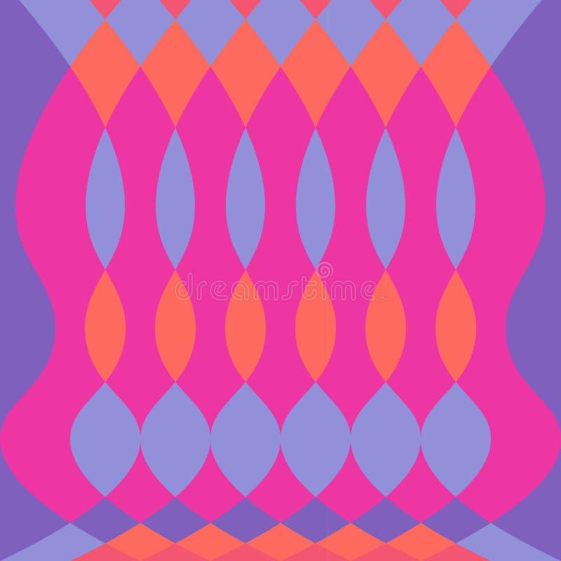 Abstrakter bunter psychedelischer Mustervektorhintergrund mit Oval und Diamanten formt fuschia Purpur lizenzfreie abbildung