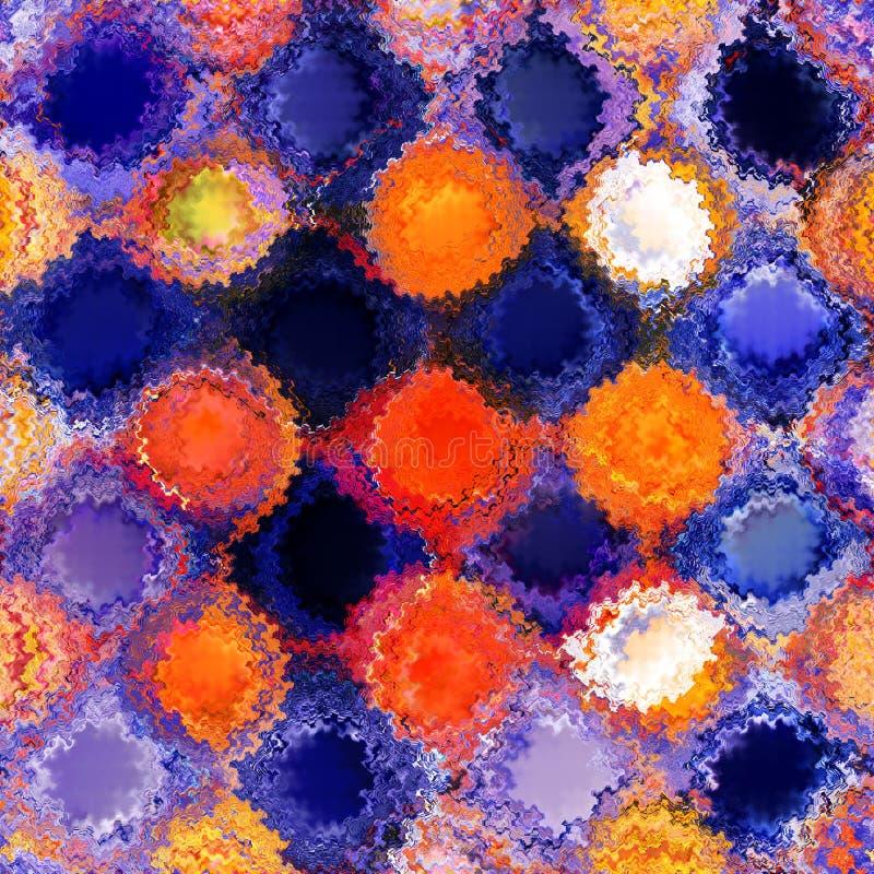 Abstrakter Buntglashintergrund mit den gestreiften und gewellten Kreisen des Schmutzes in Blauem, Orange, weiße Farben lizenzfreie abbildung