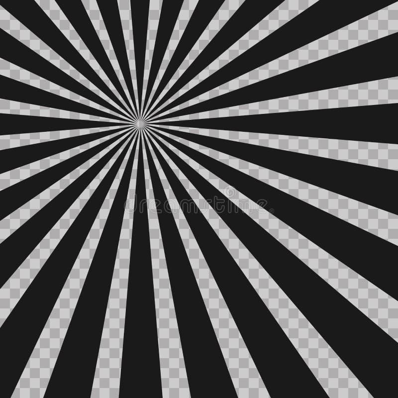 Abstrakter Comic-Buch-Blitz-Explosionsradialstrahl zeichnet Hintergrund Illusionsstrahlen Retro- Sonnendurchbruch Schmutzgestaltu lizenzfreie abbildung