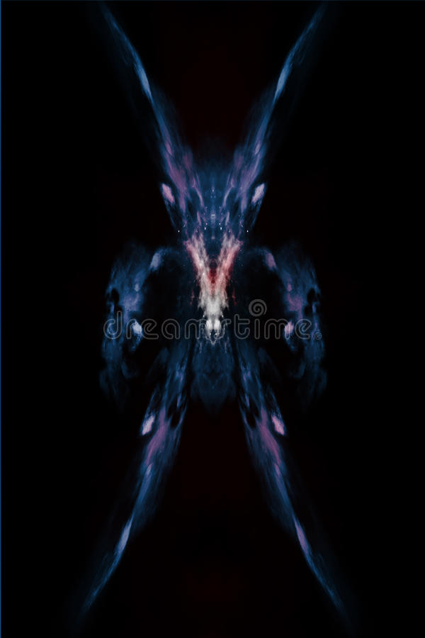 Abstrakter Dämon, der Geschöpf auf dem schwarzen Hintergrund, entworfen vom Nebelfleck, von den Sternen und von den Lichtern scha stockfotos