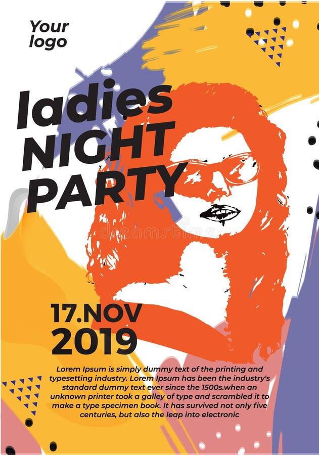 Abstrakter Damen-Plakat-Nachtpartei-Schablonenhintergrund vektor abbildung