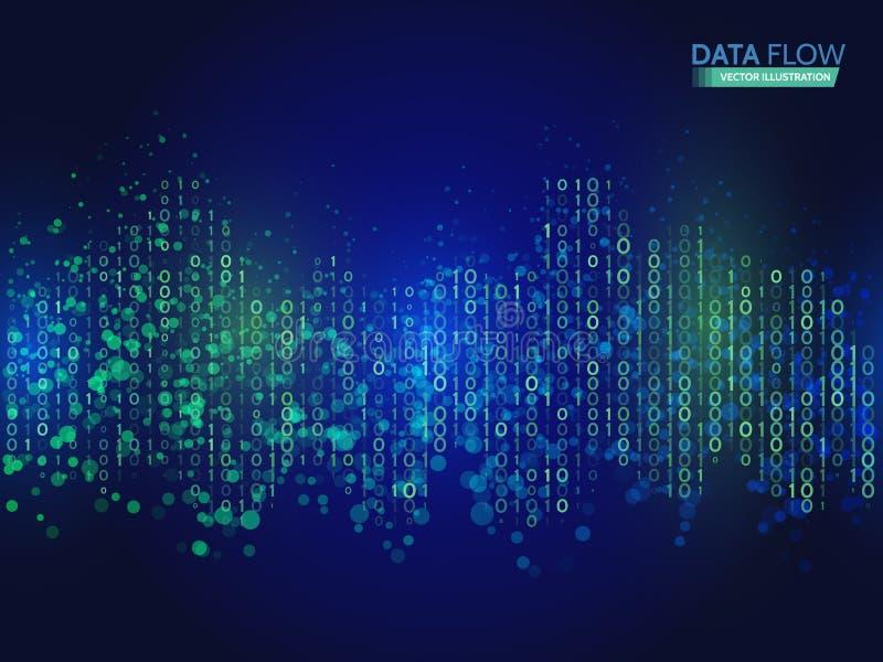 Abstrakter Datenflusshintergrund mit binär Code Dynamisches Wellentechnologiekonzept stock abbildung