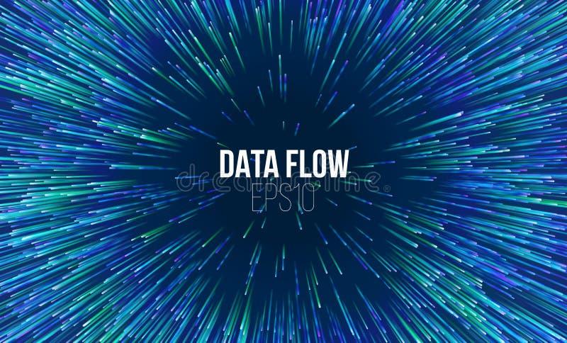 Abstrakter Datenflusstunnel Kreisförmiges geometrisches zentrales Bewegungsmuster Musikexplosions-Radialstrahlhintergrund lizenzfreie abbildung