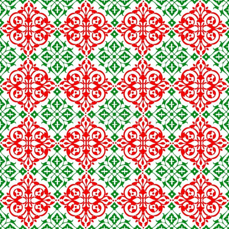 Abstrakter dekorativer orientalischer roter grüner schöner königlicher Weinlese-Frühlings-nahtlose Muster-Beschaffenheits-mit Blu lizenzfreie abbildung