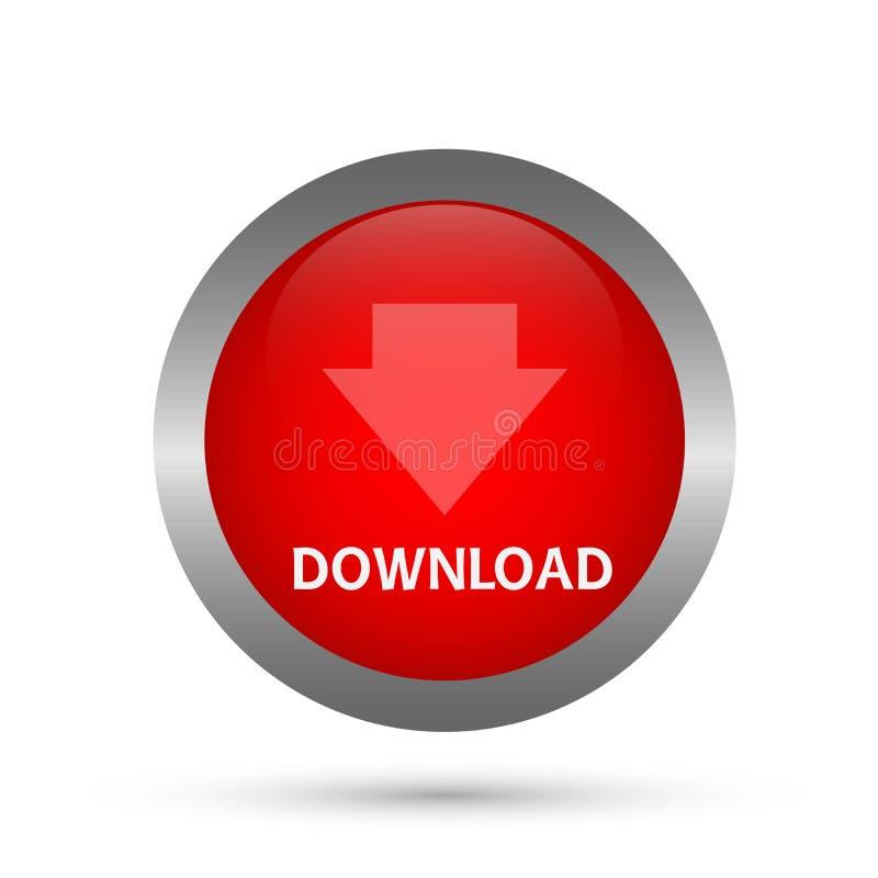 Abstrakter Downloadknopf-Ikonenvektor im Element auf weißem Hintergrund lizenzfreie abbildung
