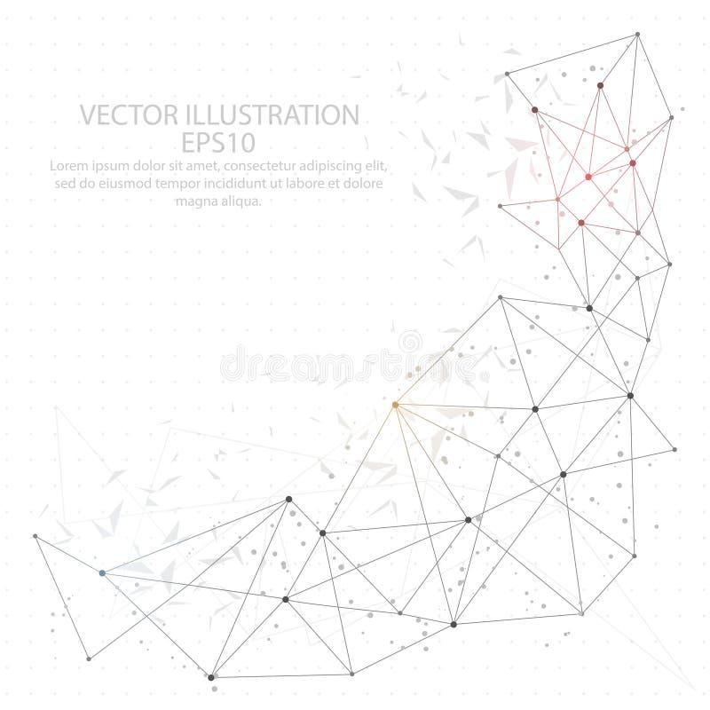 Abstrakter dreieck-Drahtrahmen des Hintergrundes digital gezeichneter niedriger Poly lizenzfreie abbildung