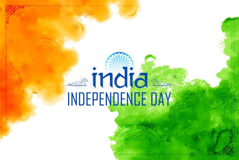 Abstrakter dreifarbiger indischer Flaggenaquarellhintergrund für glücklichen Unabhängigkeitstag von Indien vektor abbildung