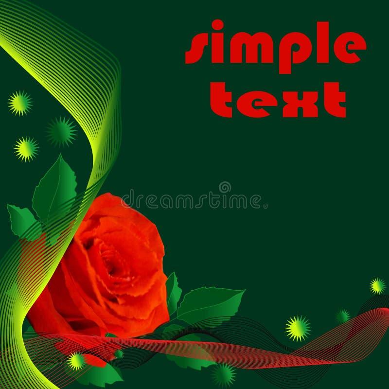 Abstrakter dunkelgrüner Hintergrund mit realistischer roter Rose vektor abbildung