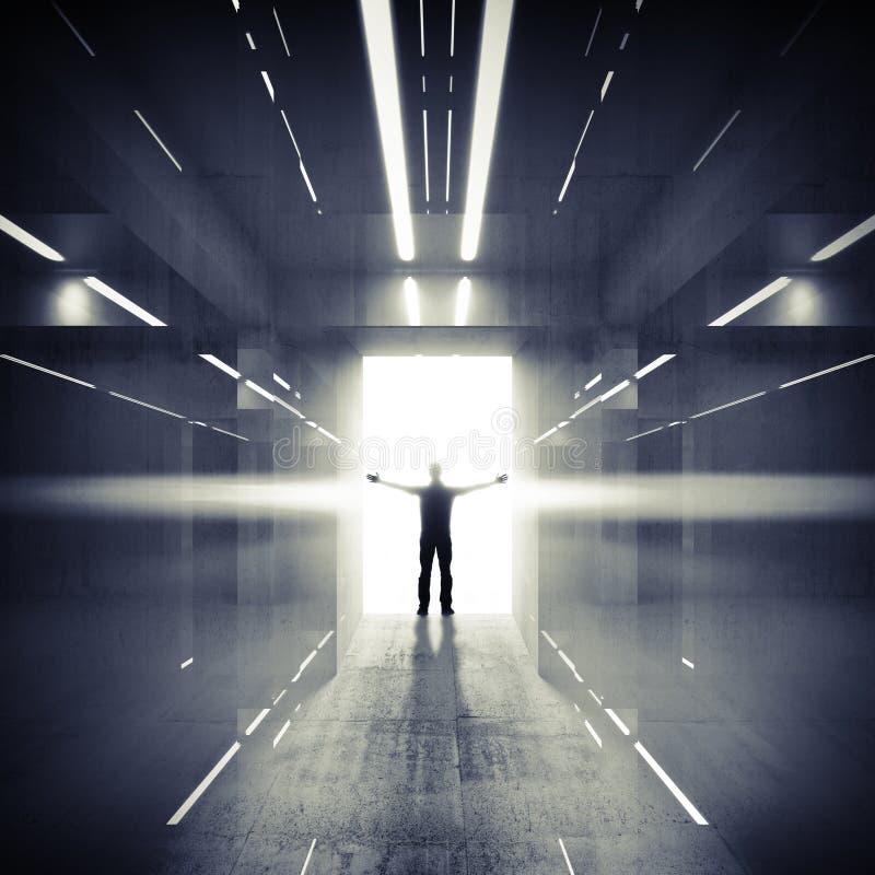 Abstrakter dunkler Innenraum mit glühender Tür und Mann lizenzfreie abbildung