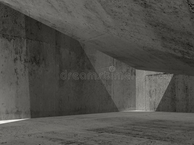 Abstrakter dunkler konkreter Innenraum, Illustration 3d lizenzfreie abbildung