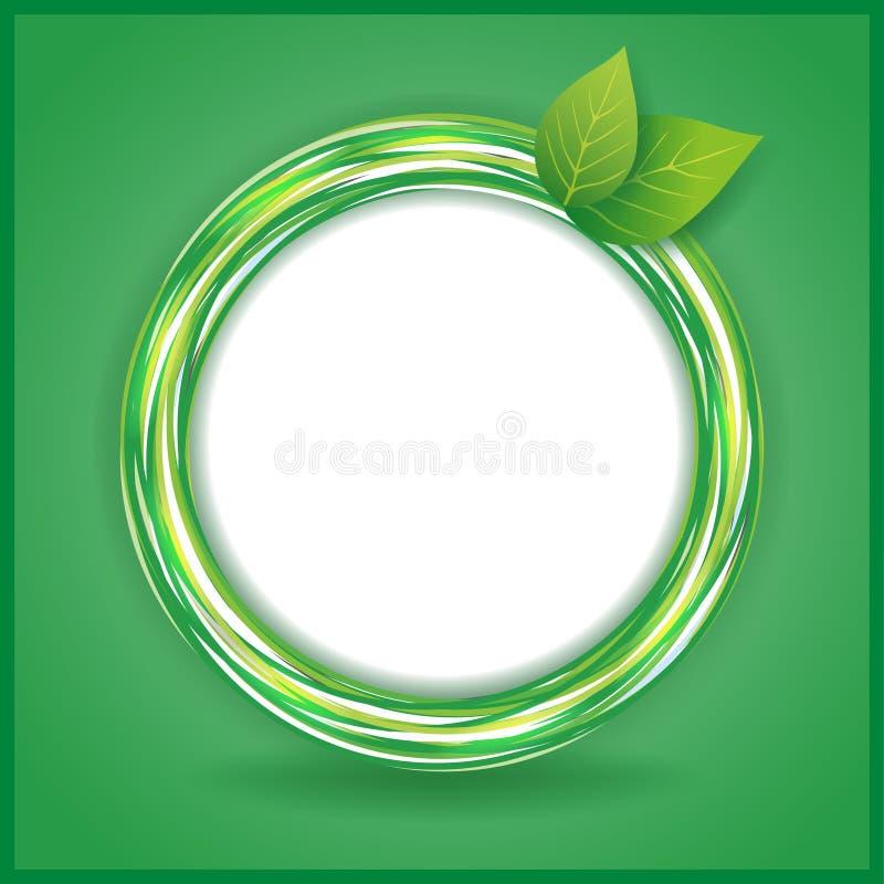 Abstrakter Eco Hintergrund mit Blättern und Kreis stock abbildung