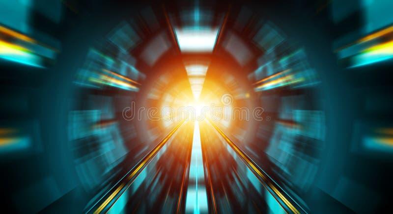 Abstrakter Effekt des lauten Summens in einem blauen dunklen Tunnelhintergrund mit Ampeln stock abbildung