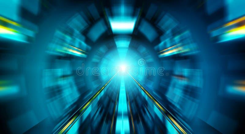 Abstrakter Effekt des lauten Summens in einem blauen dunklen Tunnelhintergrund mit Ampeln lizenzfreie abbildung